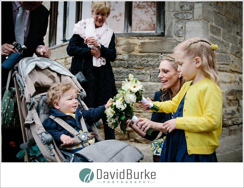 looking at wedding flowers