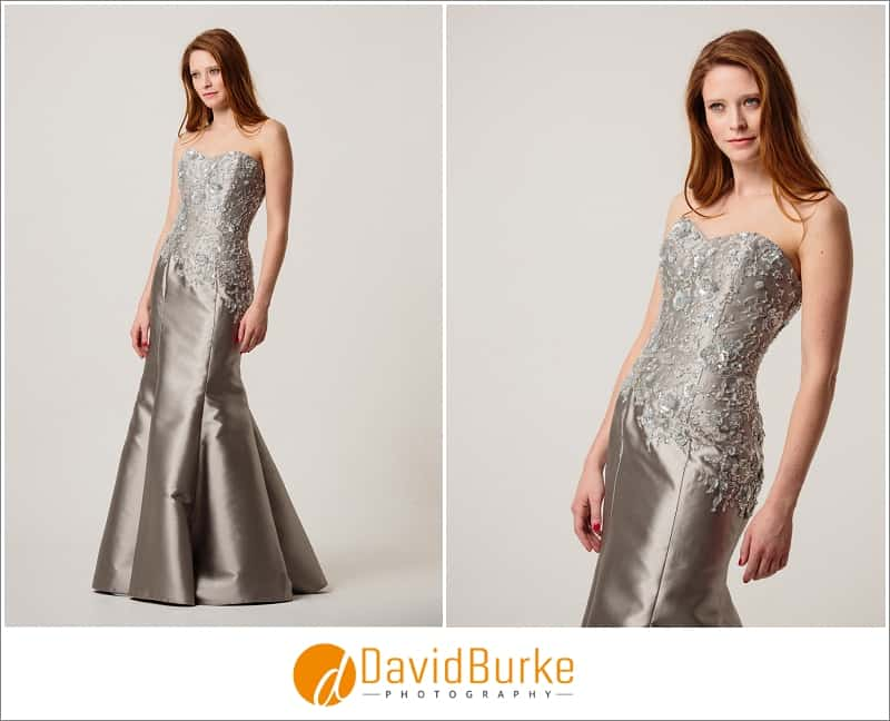 stewart parvin silver zibeline evening dress
