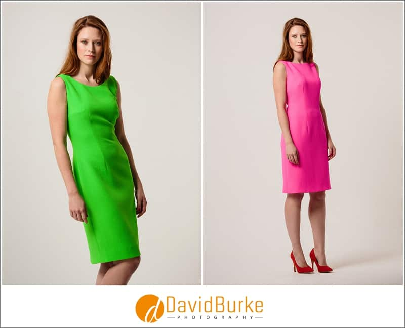 stewart parvin lime green wool dress and hot pink dress