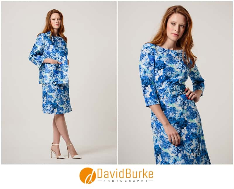stewart parvin blue and white print silk dress and zibeline jacket