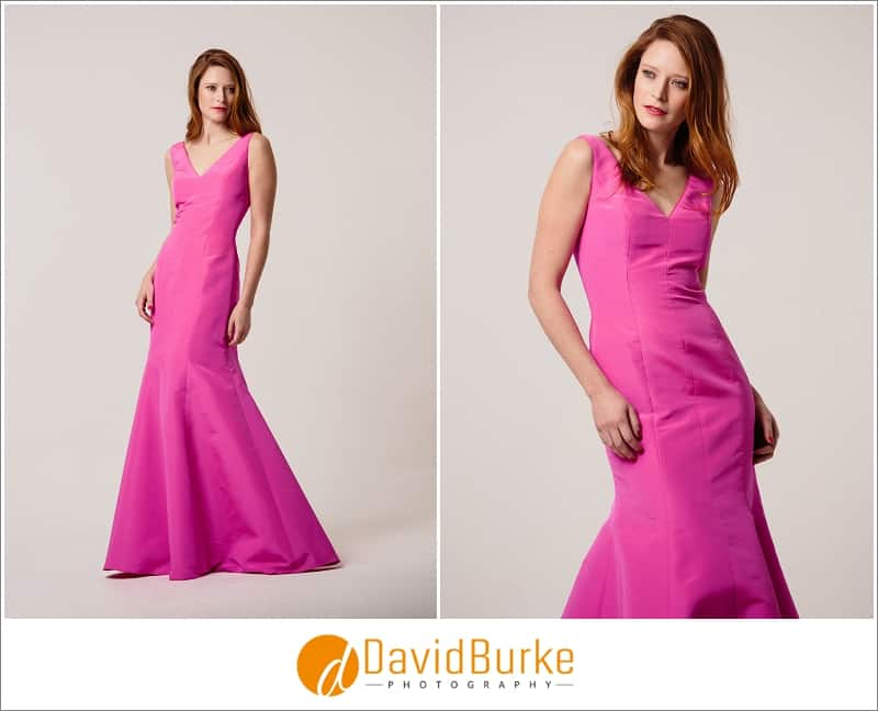 stewart parvin hot pink zibeline evening gown