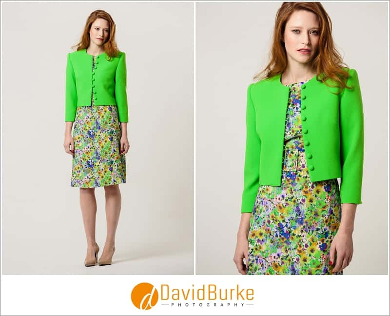stewart parvin green and yellow silk print with lime green wool jacket