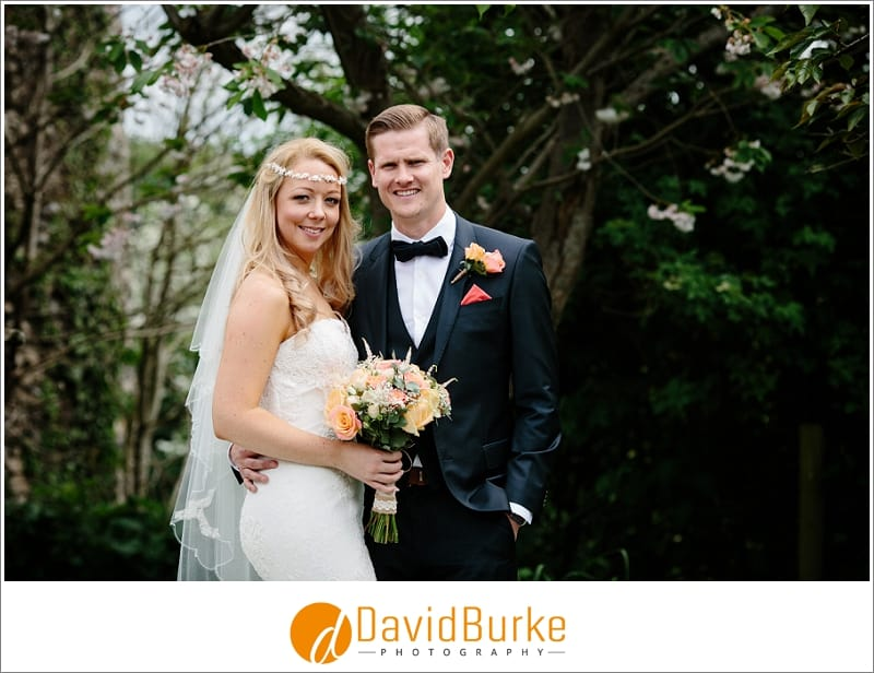 bride and groom at cooling castle barns