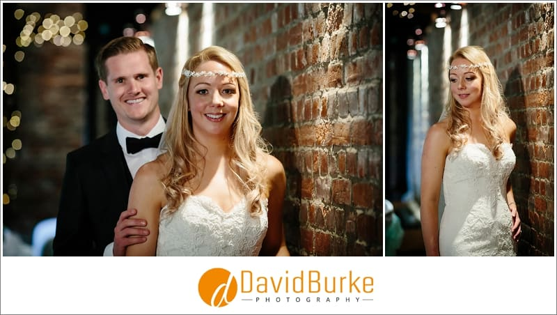 bride and groom inside cooling castle barns