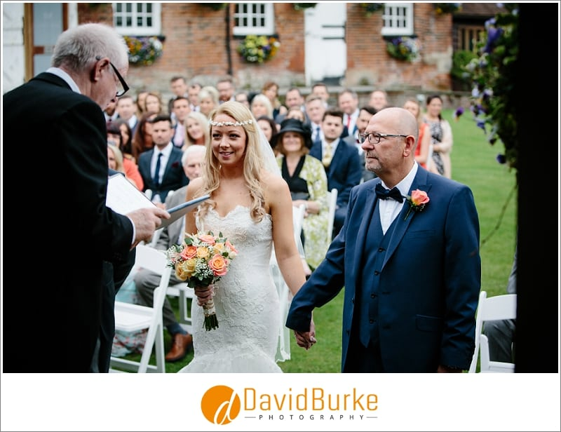 stunning bride with her dad at cooling castle
