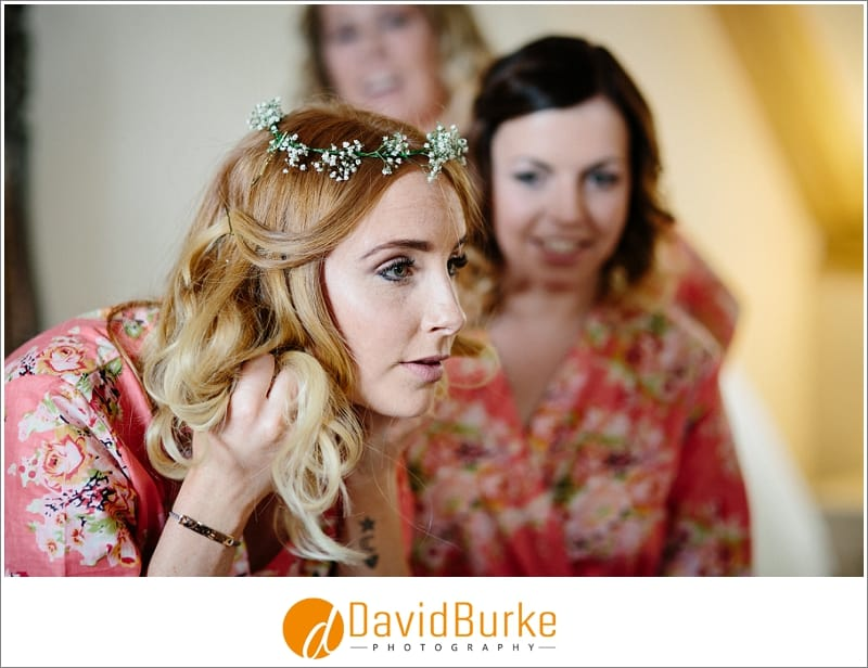 bridesmaid in floral headdress