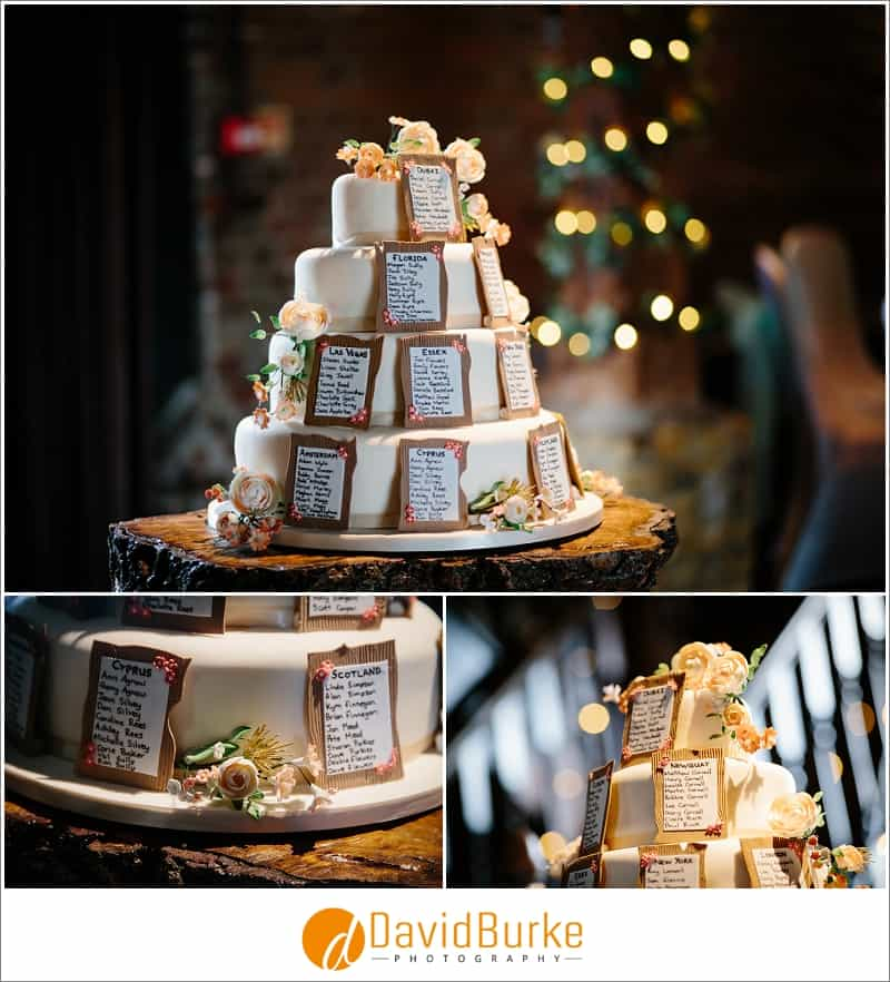 wedding cake with guest seating plan