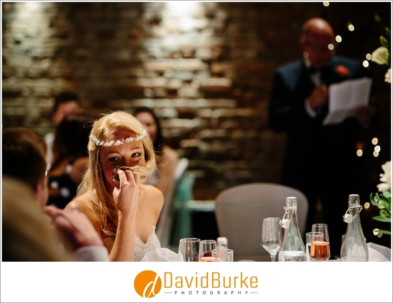 embarrassed bride during speeches