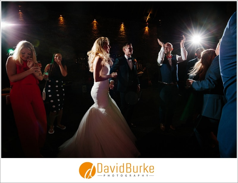 dancing bride at cooling castle barns