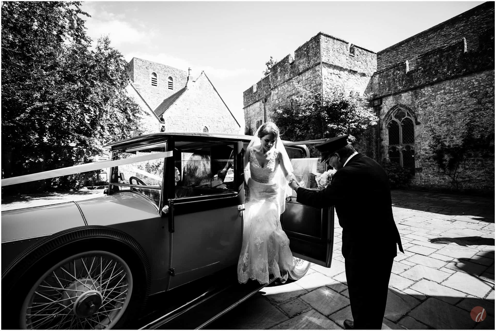bride arrives at lympne castle