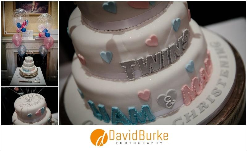 twins christening cake