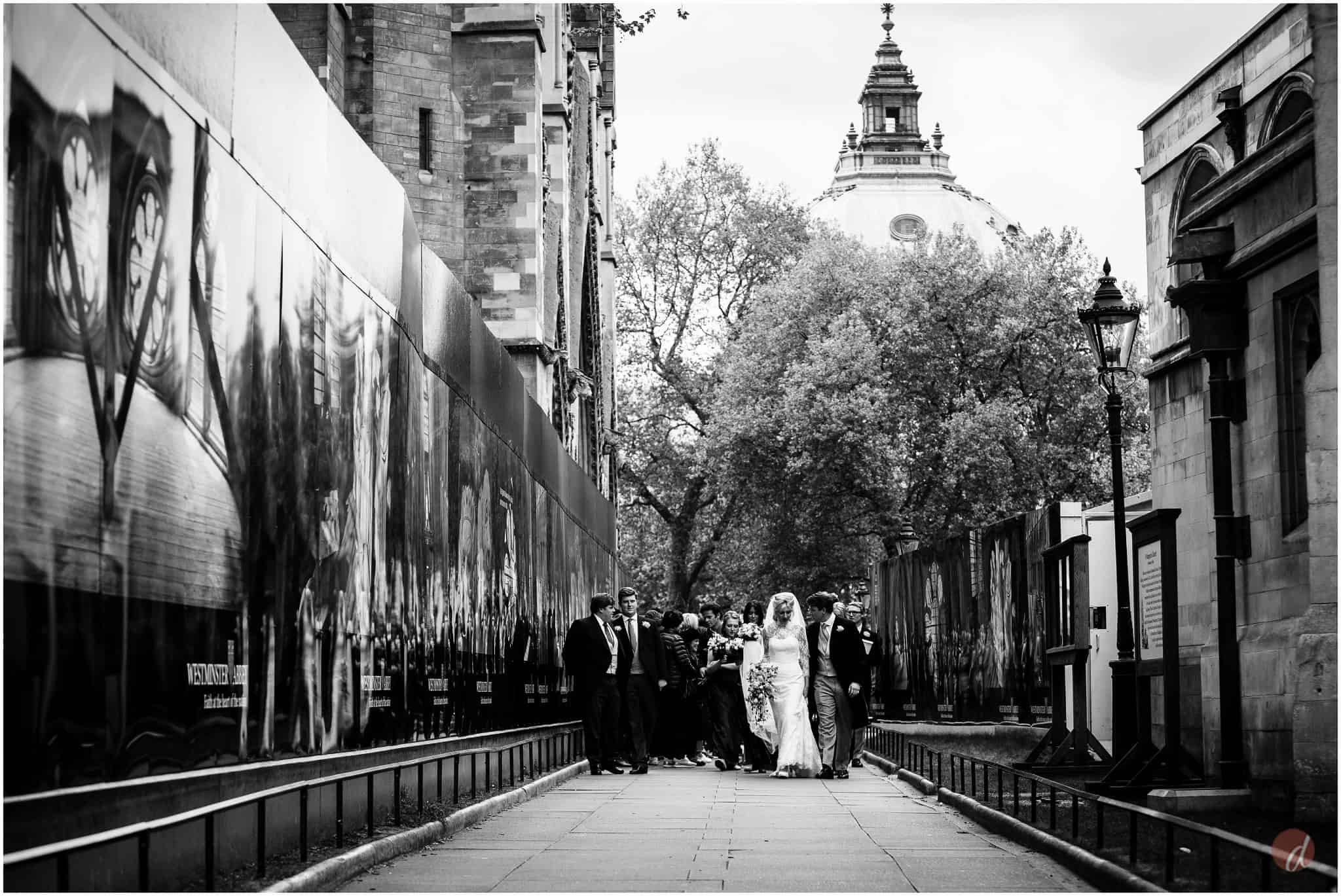 bride and groom in london