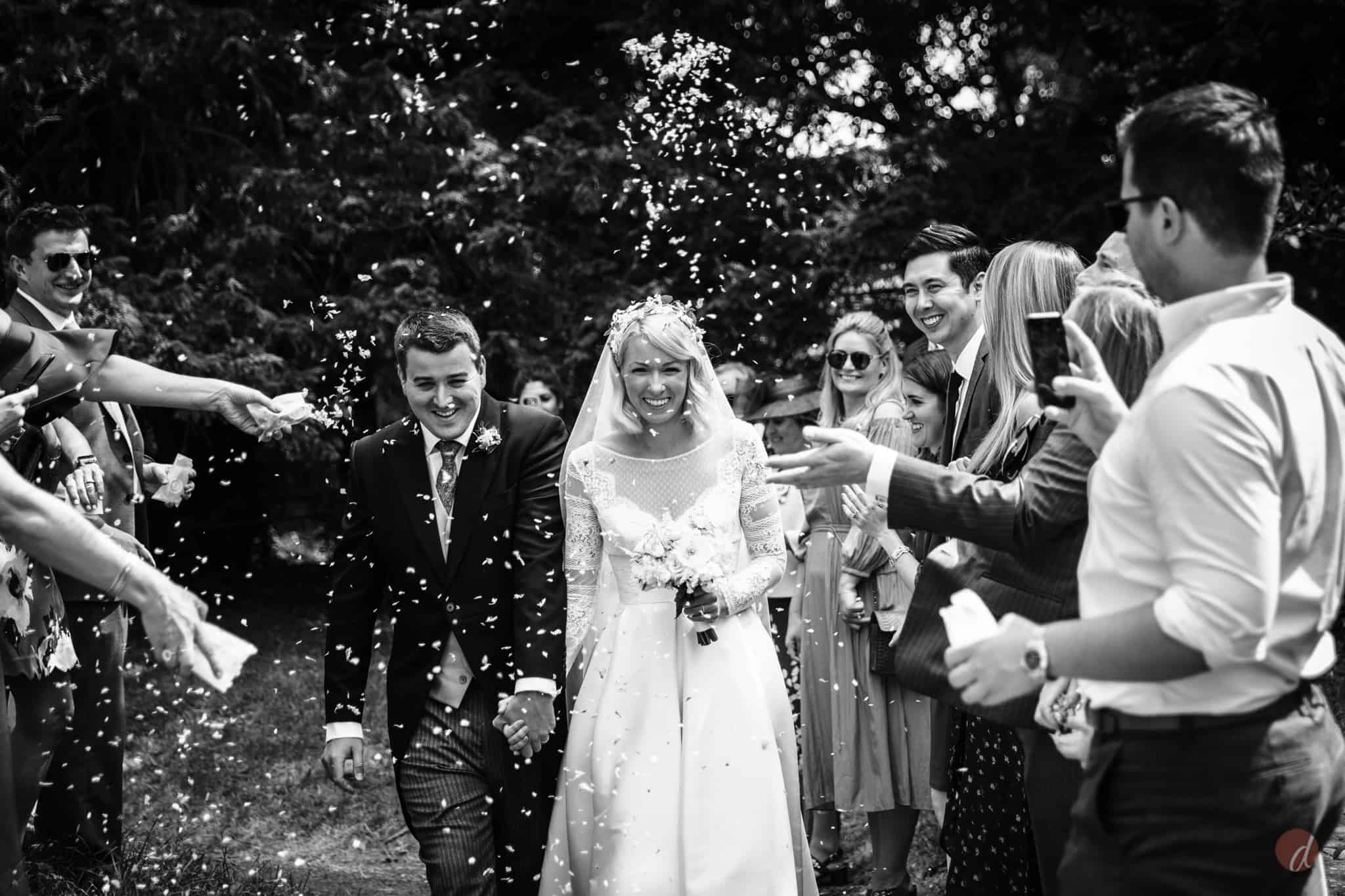 confetti at st Marys church lamberhurst wedding